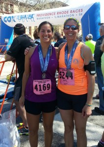 Lisa and Michelle - Cox Half Marathon on May 4, 2014